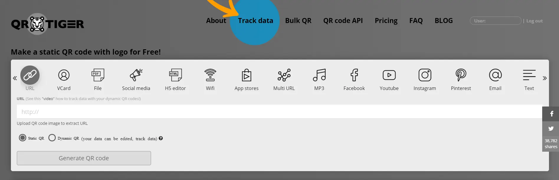 editable qr code and track data