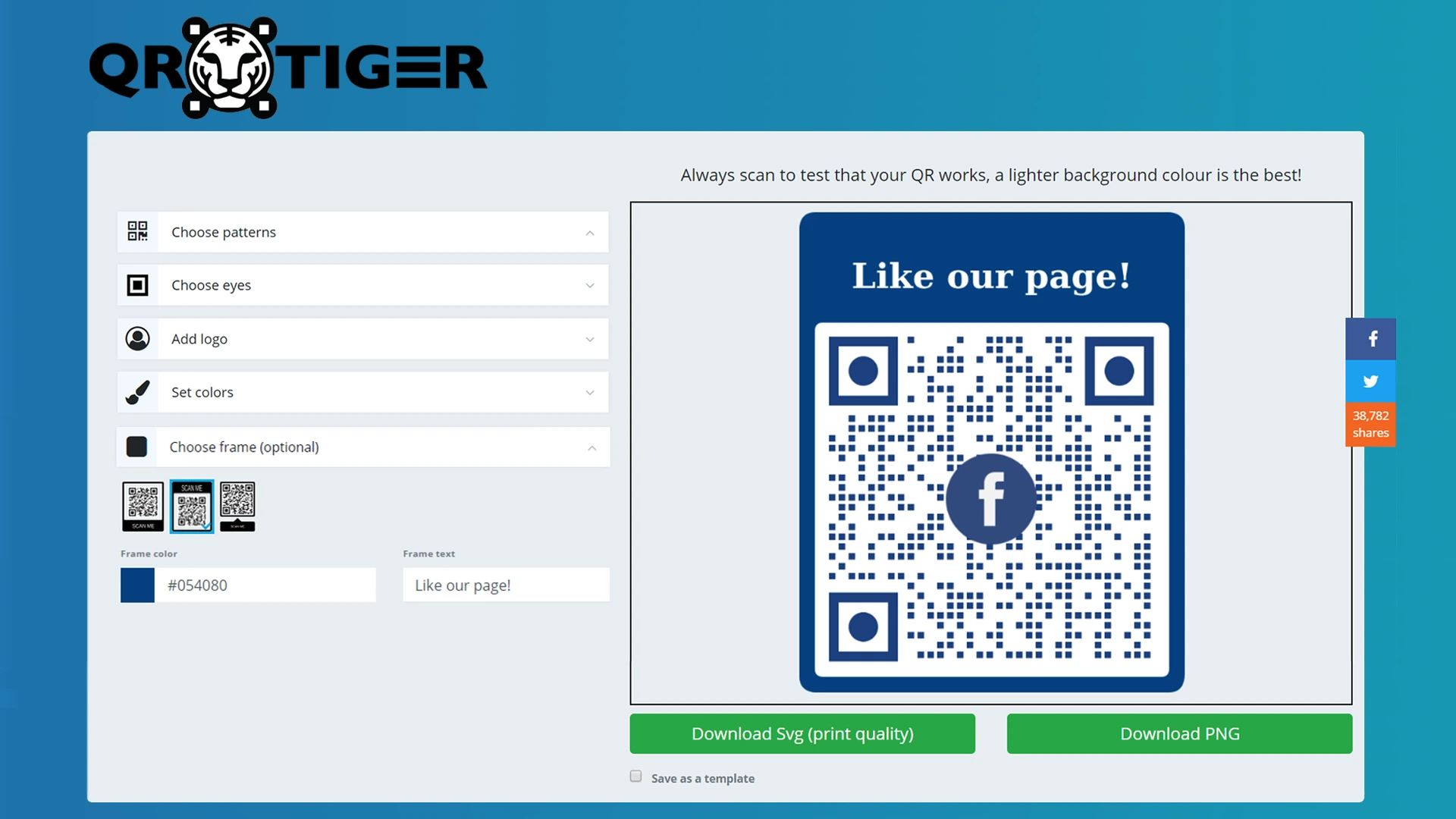 generate a free qr code for facebook