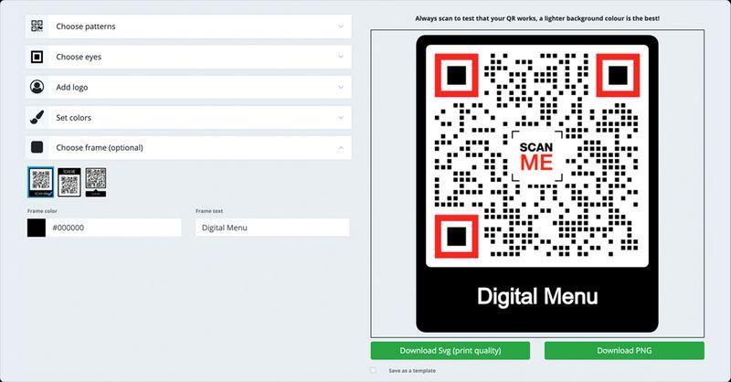 qr code menu free