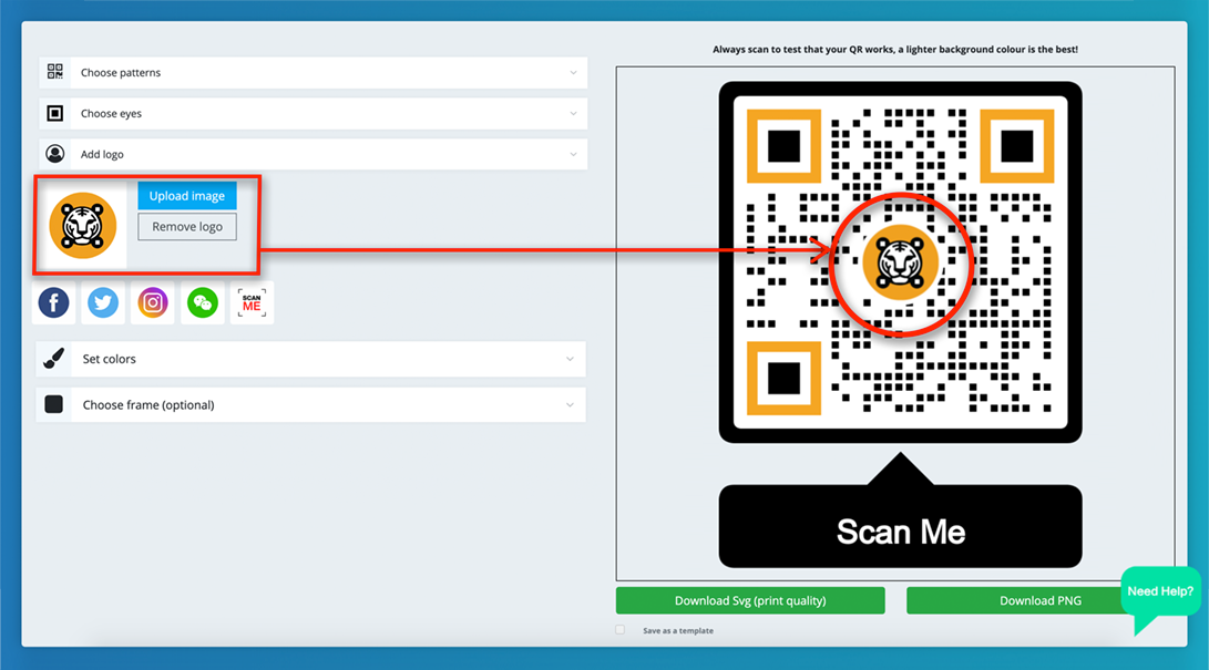 how to create a qr code for an app