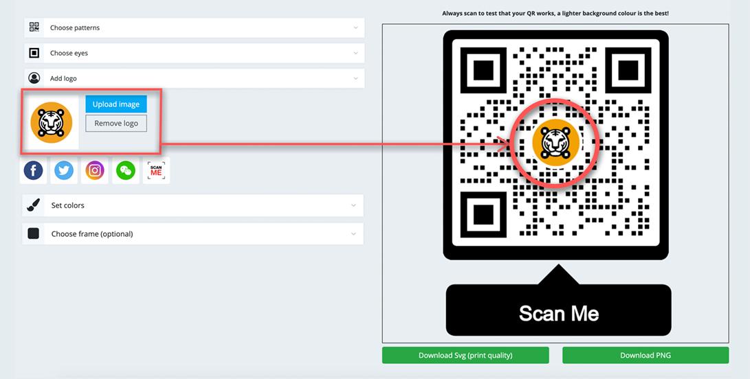 how to create a qr code for a website logo