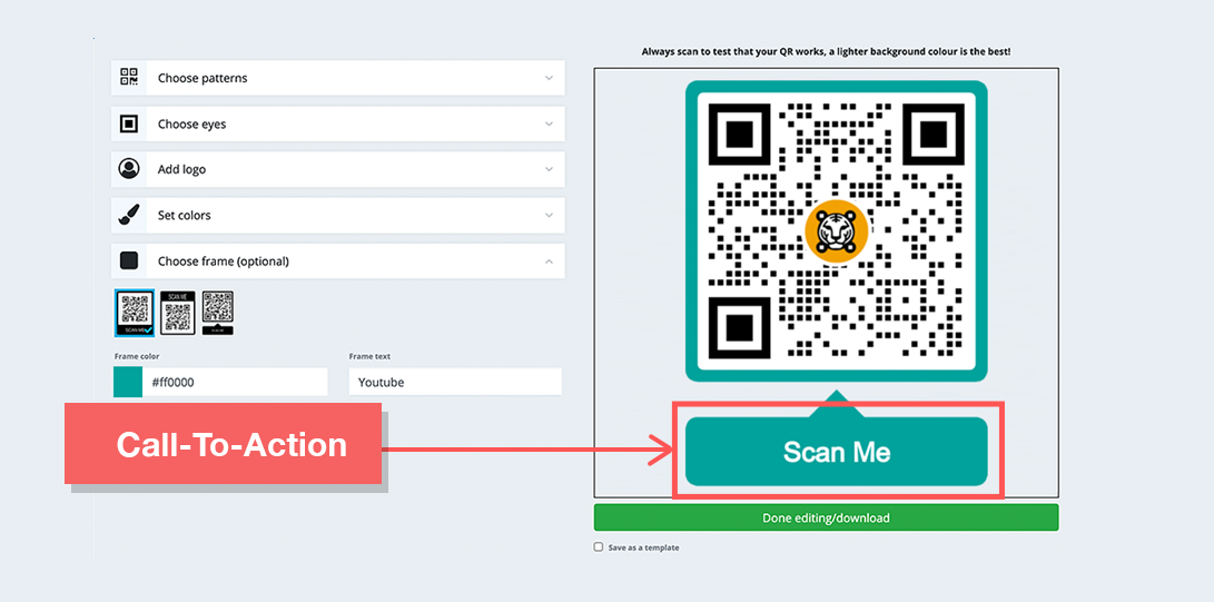 customized qr codes call to action