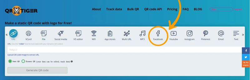 QR code generator Facebook like button