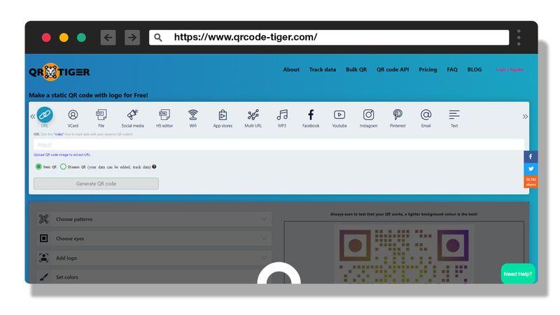 qr code generator landing page